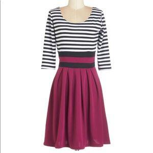 Pleated, 3/4 sleeve Modcloth dress